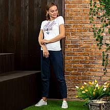 Белая футболка вышиванка Узор синий, фото 2