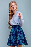 Женский свитер пуловер с v-образным вырезом 42-50 размера голубой
