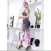 Женские стильные лосины/леггинсы для занятий спортом/фитнесом «Fitness lovers» (розово-черный), фото 1