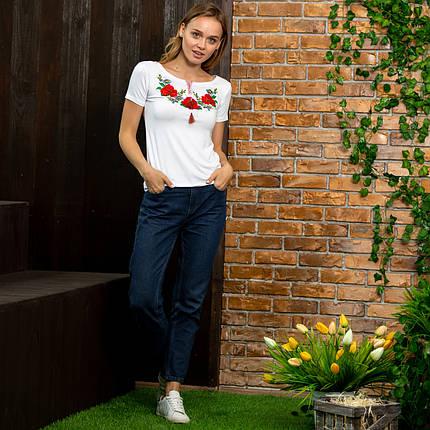 Женские трикотажные футболки с вышивкой Маковое поле, фото 2