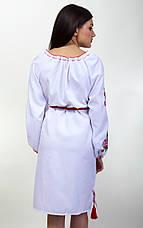 Вышитое платье женское  длинный рукав на белой ткани, фото 3