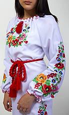 Вышитое платье женское  длинный рукав на белой ткани, фото 2