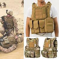 CoumouflageВоенныйТактическийжилетMolleCombat Assault Защитная одежда CS Стреляющий охотничий жилет - 1TopShop