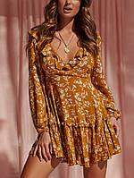 Женское Повседневный V-образный вырез с цветочным принтом Платье Мини-шорты с короткими рукавами и рюшами Платьеes - 1TopShop