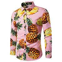 8a78d95b370 Мужская длинная рукавная ананасовая печать Гавайская Пляжный Отверстие для  воротника Casual Рубашка 1TopShop