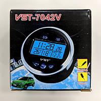 Часы в автомобиль VST-7042V (термометр, вольтметр)