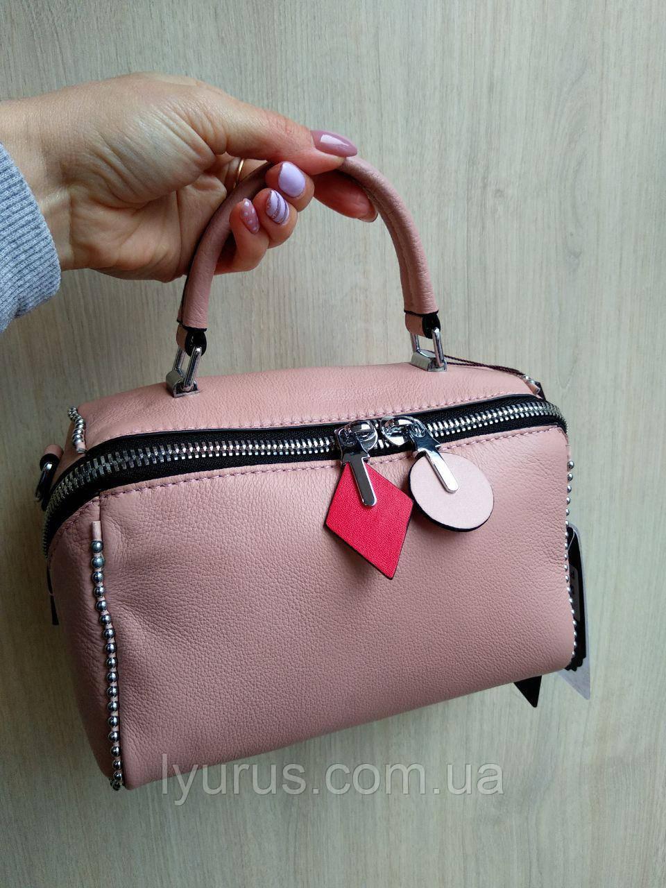Сумка кожаная женская Polina & Eiterou розового цвета
