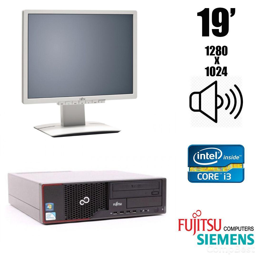 Fujitsu e710 Desktop / Intel Core i3-2120 (2 (4) ядра по 3.30 GHz) / 4 GB DDR3 / 500 GB HDD + Монитор Fujitsu-Siemens B19-6 LED / 19'' / 1280х1024 /