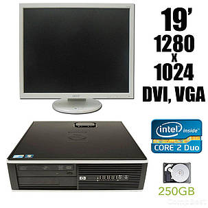 "HP 6000 SFF / Intel Core 2 Duo E8400 (2 ядра по 3.0 GHz) / 4 GB DDR3 / 250 GB HDD + Монитор Fujitsu b19-5 / 19"" / 1280*1024 / DVI, VGA / встроенные, фото 2"