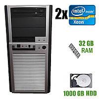 Chieftec MidiTower / 2x Intel Xeon E5645 ( 6(12) ядер по 2.4-2.67GHz) / 32GB DDR3 / 1000 GB HDD / БП Chieftech 450W / DVD-ROM