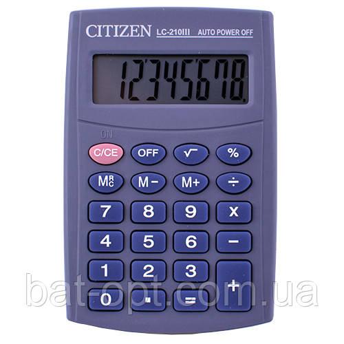 Калькулятор карманный CITIZEN 210, 8-ми разрядный