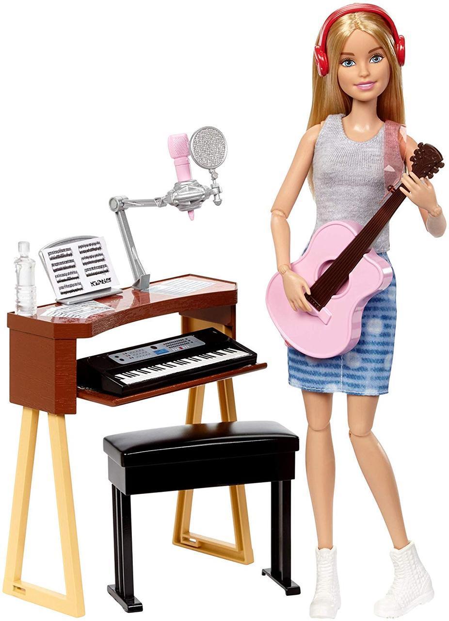 Кукла Барби рок-музыкант с гитарой и пианино Шарнирная Barbie Music Musician