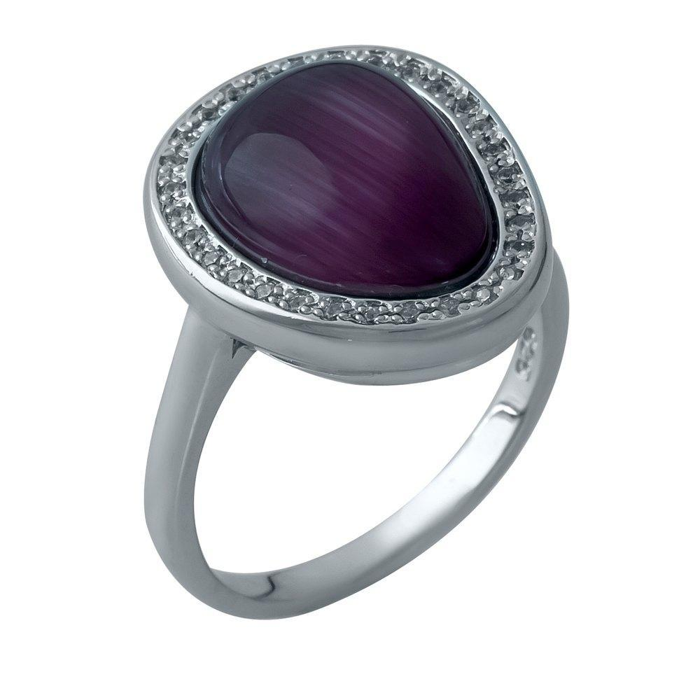 Родированное серебряное кольцо 925 пробы с кошачим глазом