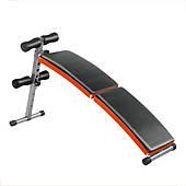 Раскладная скамья для пресса LiveUp FITNESS SIT-UP BENCH, цвет - черно-оранжевый