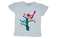 Детская турецкая футболка для девочки нарядная (белая) с аппликацией птички