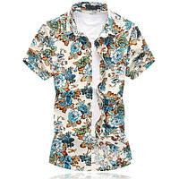 dabf8ca2fd6 Мужские летние Гавайские Пляжный Цветочные печати Мода Casual Plus Размер рубашки  1TopShop