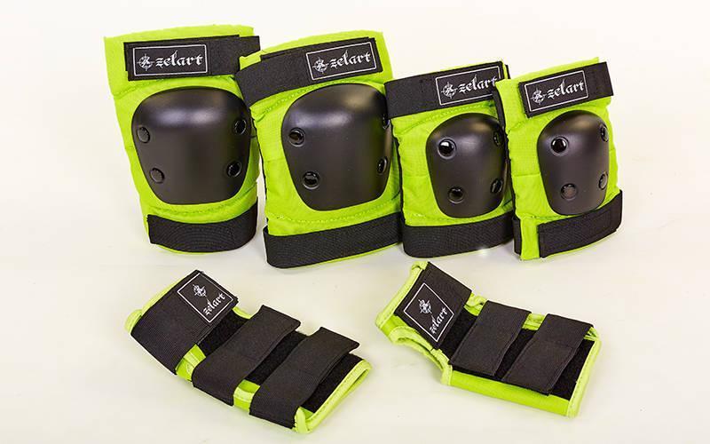 Защита  (наколенники налокотники перчатки) черно-зеленый SK-4680