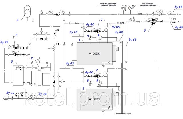 Гидравлическая схема котельной на дровах Колви 200 квт