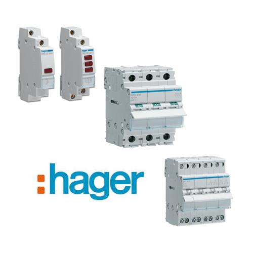 Выключатели, переключатели, кнопки, индикаторы HAGER