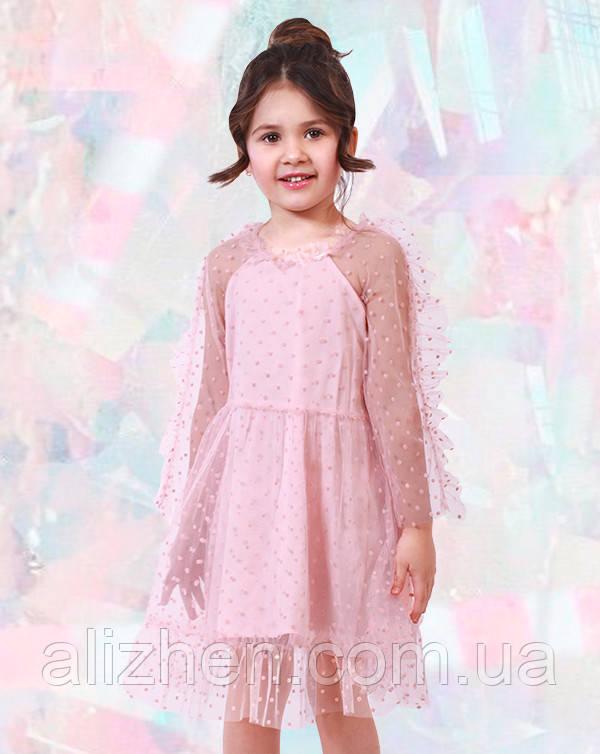 Платье с фатином, розовое (8003)