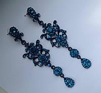 Вечерние длинные серьги с ярко-голубыми камнями