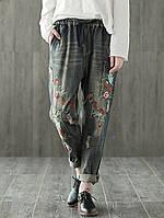 Вышивка из народного стиля Эластичная талия Винтаж Джинсовая одежда Джинсы 1TopShop
