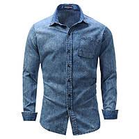 75e7bd222ea9dfb Мужская хлопчатобумажная джинсовая ткань с синим карманом Весна подходит  для Casual Рубашка 1TopShop