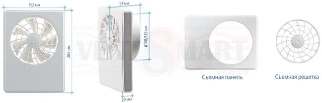 Габаритные размеры (размер передней панели, толщина передней панели, глубина монтажа, диаметры выходных патрубков) вентиляторов для ванной, комнаты, кухни Вентс іФан Цельсій 100/125