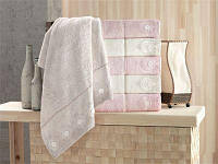 Банное полотенце набор 6 шт. Pupilla 3D, гипюр, 70х140 Alvin 100 бамбук-1