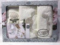Подарочный набор халат+2 полотенца Miss Bella 14 кремовый