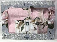 Подарочный набор халат+2 полотенца Miss Bella 7 розовый