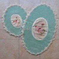 Набор ковриков с кружевами  Chilai бирюзовый