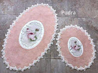 Набор ковриков с кружевами Chilai пудра