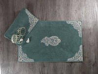 Набор ковриков для ванны с кружевом Maco lotus yesil