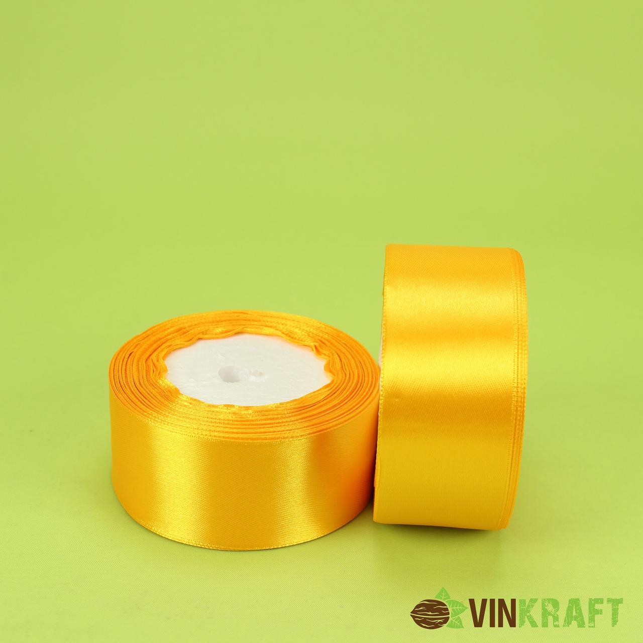 Стрічка атласна 40 мм (23м) жовта