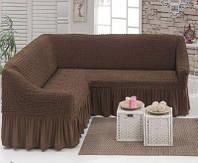 Чехол на угловой диван +1 кресло Golden Люкс Коричневый