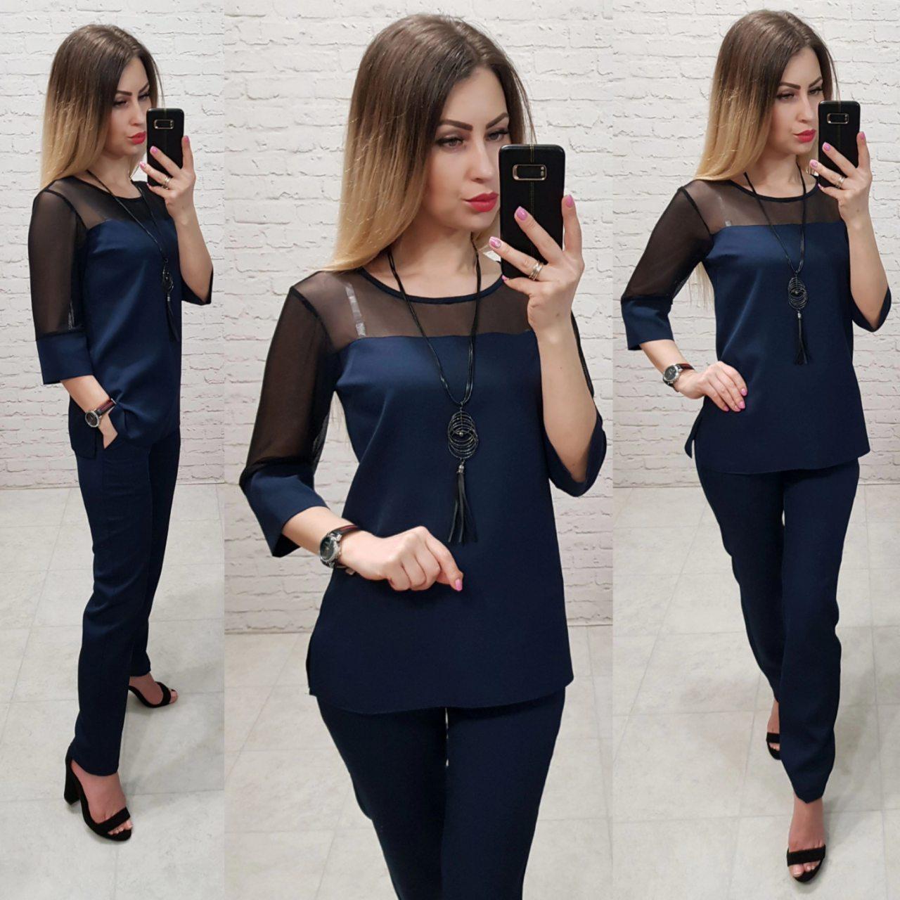 Женский костюм  арт. 153 норма  темно-синий