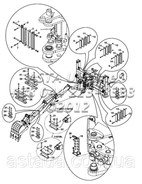 Держатель шланга комплект, гидравлический, экскаватор-Е1-5-1-ЕП2/01