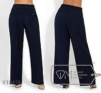Темно-синие женские брюки-трубы в размерах 50,52,54,56, фото 1