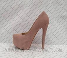 Туфли женские замшевые на каблуке Ла6уте$ Loubouti$ цвета пудры Код 2076, фото 2