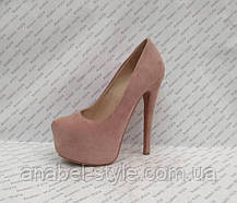 Туфли женские замшевые на каблуке Ла6уте$ Loubouti$ цвета пудры Код 2076, фото 3