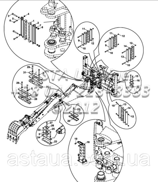 Держатель шланга комплект, гидравлический, ТБ+КТ, экскаватор-Е1-5-1-ОП4