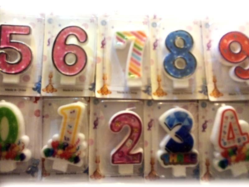 Свеча в торт пряничная Цифры от 0 до 9 (10шт)