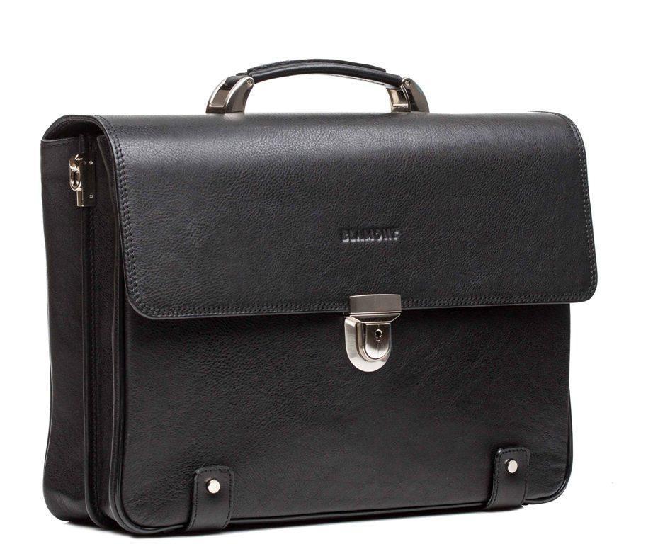 Мужской черный кожаный портфель Blamont Bn044A