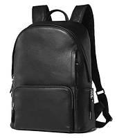 Мужской черный кожаный рюкзак из натуральной кожи Tiding Bag B3-122A