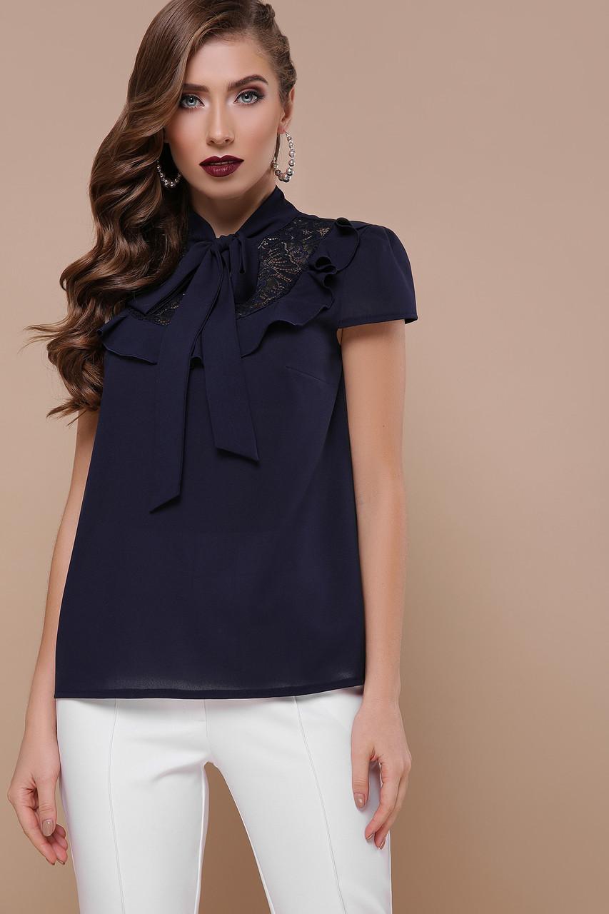 Женская нарядная блуза с бантом на шее и гипюром Федерика к/р синий