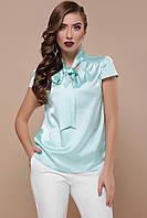 Легкая шелковая летняя блуза с короткими рукавами Филипа к/р мята