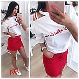 Женский стильный костюм: футболка и джинсовая юбка (2 цвета), фото 4