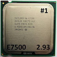 Процессор ЛОТ#1 Intel Core 2 Duo E7500 R0 SLGTE 2.93 GHz 3 MB Cache 1066 MHz FSB Socket 775 Б/У, фото 1