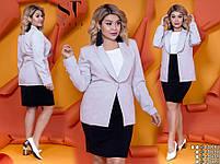 Діловий костюм зі спідницею-олівець і піджаком з 42 по 52 розмір, фото 5